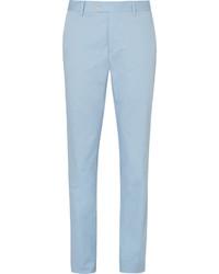 Caruso Blue Slim Fit Stretch Cotton Suit Trousers