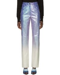 Loewe Purple Iridescent Leather Trousers