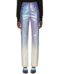 Purple iridescent leather trousers medium 527159