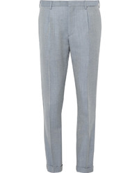 Slim fit pleated mohair and virgin wool blend jacquard trousers medium 1149006