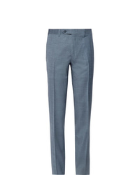 Canali Storm Blue Slim Fit Tapered Wool Suit Trousers