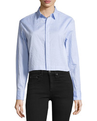 Rag & Bone Adry Cropped Button Up Blouse Blue
