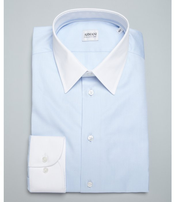 Armani collezioni light blue and white cotton point collar Buy white dress shirt