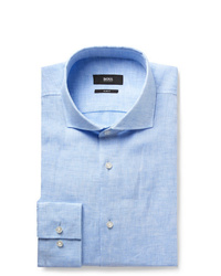 Hugo Boss Blue Jason Slim Fit Slub Linen Shirt