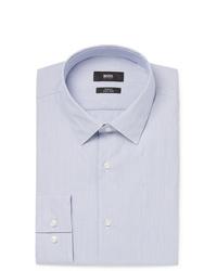 Hugo Boss Blue Slim Fit Striped Cotton Poplin Shirt