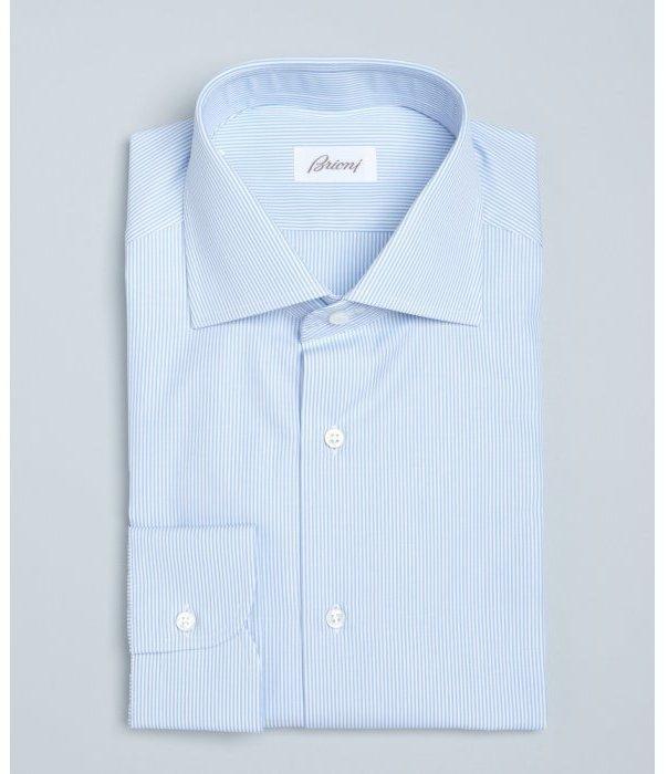Brioni Light Blue Pinstripe Cotton William Spread Collar