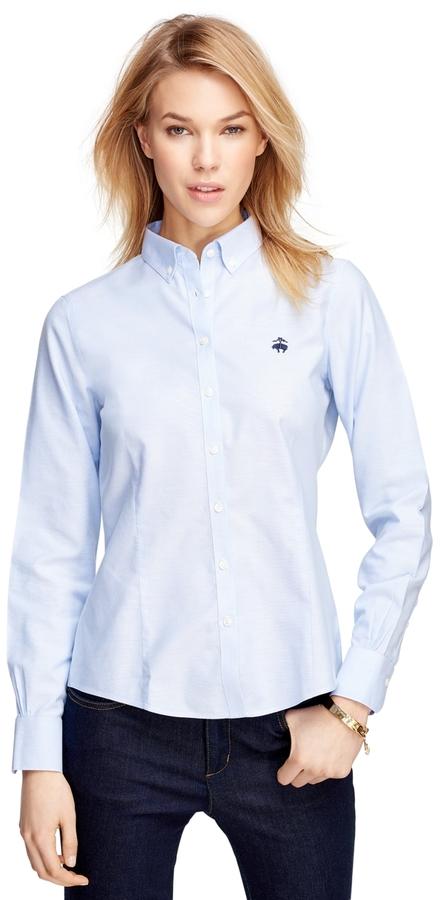 Brooks brothers non iron tailored fit supima cotton dress for Supima cotton dress shirts