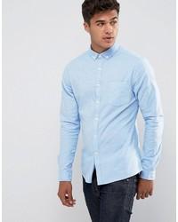 Asos Casual Skinny Oxford Shirt In Blue