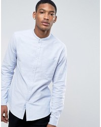 Asos Casual Slim Oxford Shirt With Stretch In Blue And Grandad Collar