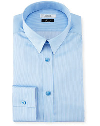 Versace Collection Textured Cotton Dress Shirt Light Blue
