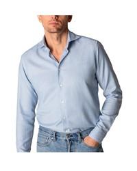 Eton Contemporary Fit Solid Cotton Silk Dress Shirt