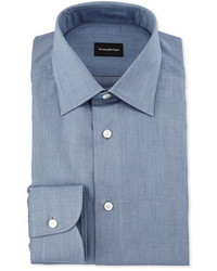 Ermenegildo Zegna Solid Flannel Dress Shirt Blue