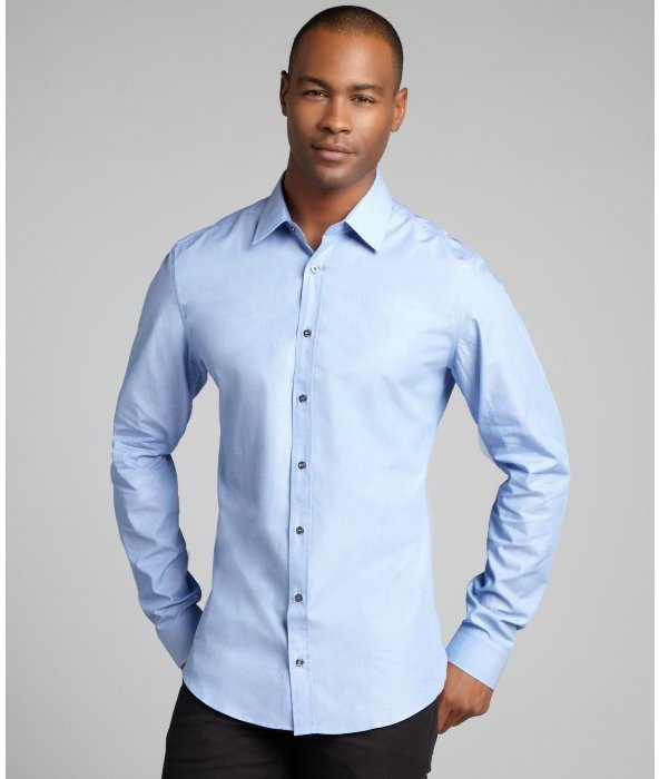 Gucci Light Blue Crosshatch Cotton Spread Collar Dress Shirt ...