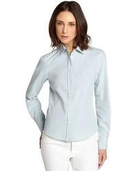 Loro Piana Light Blue Janet Cotton Oxford Button Front Shirt