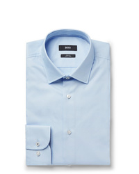Hugo Boss Light Blue Jesse Slim Fit Jacquard Trimmed Cotton Poplin Shirt