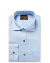 Tod's Light Blue Mlange Linen Shirt