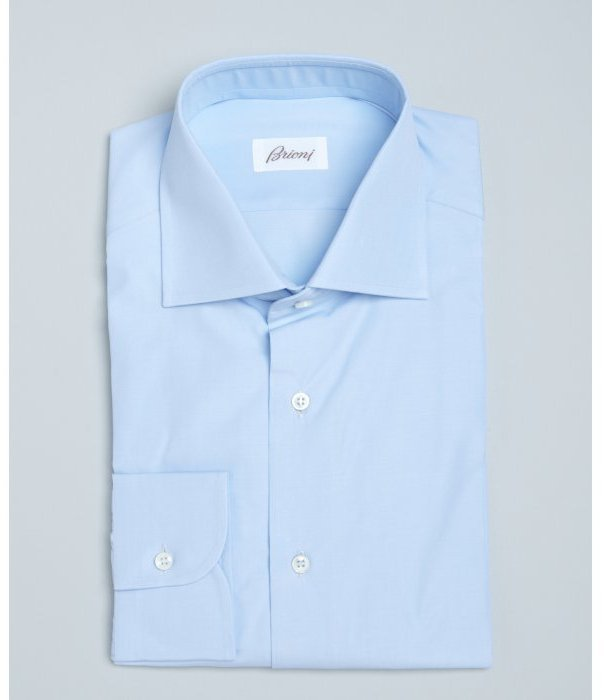 7d2ccedd66d2 Brioni Light Blue Solid Cotton William Spread Collar Dress Shirt ...