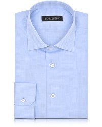 Forzieri Light Blue Woven Checked Cotton Slim Fit Shirt