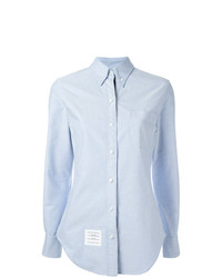 Thom Browne Long Sleeve Shirt Placket In Blue Oxford