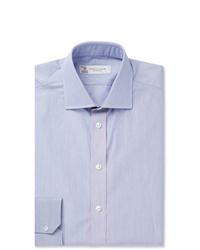 Turnbull & Asser Navy Slim Fit Striped Cotton Shirt