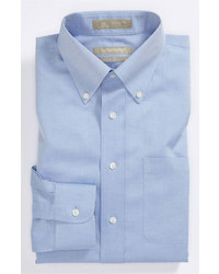 Nordstrom Smartcarewrinkle Free Traditional Fit Pinpoint Dress Shirt Light Blue 185 36