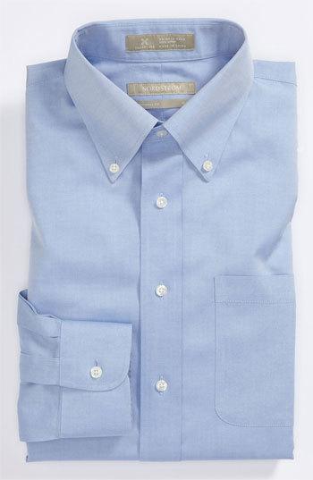 Nordstrom Smartcarewrinkle Free Traditional Fit Pinpoint Dress Shirt Light Blue 185 36