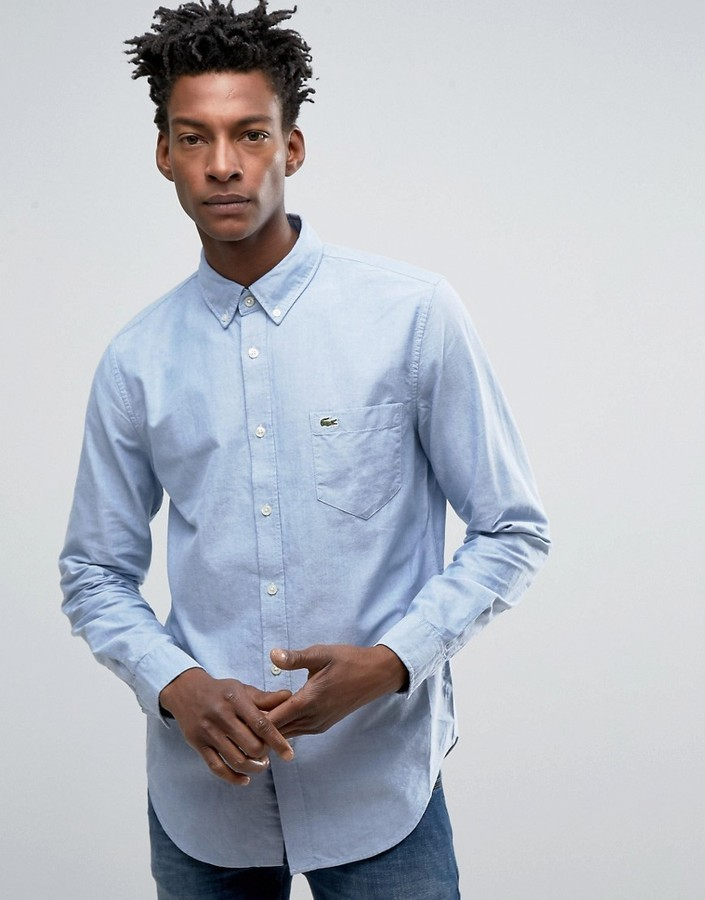 0f96bd8c70 $143, Lacoste Oxford Shirt In Blue Regular Fit