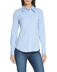 Theory Perfect Fit Stretch Cotton Button Up Blouse