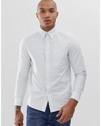 Calvin Klein Small Logo Stripe Oxford Shirt Slim Fit In Bluewhite