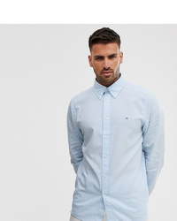 Calvin Klein To Asos Small Contrast Logo Oxford Shirt Slim Fit In Light Blue