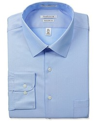 Van Heusen Herringbone Regular Fit Solid Spread Collar Dress Shirt