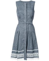 Oscar de la Renta Belted Dress With Detailed Hem