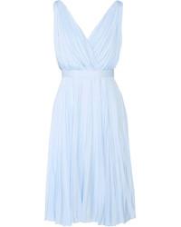 Prada Pliss Crepe De Chine Dress Sky Blue
