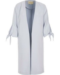 River Island Light Blue Tie Cuff Duster Jacket