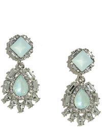 LuLu*s Chateau Silver And Light Blue Rhinestone Earrings