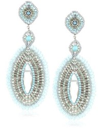 Miguel Ases Blue And Rainbow Quartz Large Oval Drop Earrings