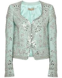 Embellished wool and silk blend blazer medium 46921