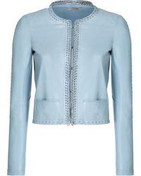 Leather jacket with embellished lace trim medium 46922