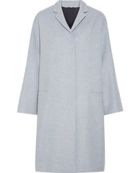 Brunello Cucinelli Bead Embellished Wool And Cashmere Blend Coat Sky Blue