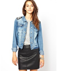 Light Blue Embellished Denim Jacket