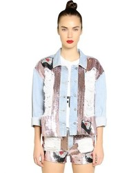 Au Jour Le Jour Embellished Cotton Denim Jacket