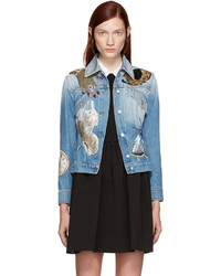 Blue embellished denim jacket medium 828166