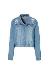 BODYFLIRT Studded Denim Jacket In Medium Blue Bleached Size 14