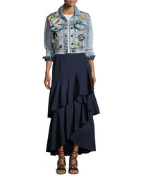 Alice + Olivia Chloe Cropped Denim Jacket With Patches Light Blue
