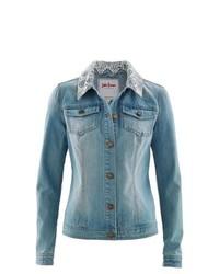 John Baner JEANSWEAR Lace Trim Denim Jacket In Blue Bleached Used Size 8
