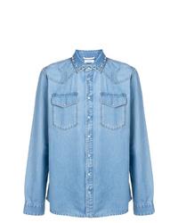 Valentino Stud Detail Denim Shirt