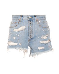 Gucci Embellished Distressed Denim Shorts