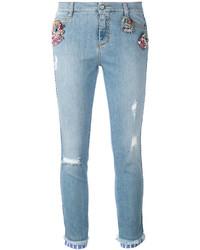 Ermanno Scervino Denim Crystal Embellished Jeans