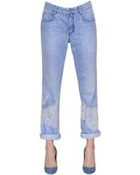 Ermanno Scervino Lace Embellished Cotton Denim Jeans