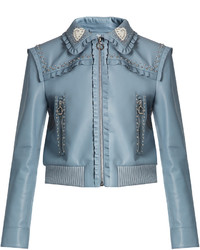Crystal and stud embellished leather bomber jacket medium 1156813
